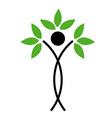 Human figure with green leaves vector image vector image