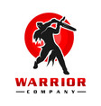 japanese sword soldier logo design vector image