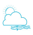 line nice sun with cloud and fresh wind weather vector image vector image
