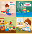 literacy day book banner set cartoon style vector image