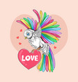 love valentine day bird full colour rainbow unicor vector image