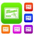 miami beach set collection vector image vector image