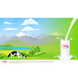 milk glass on milk splash beautiful nature vector image vector image