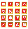 mother day icons set red square vector image