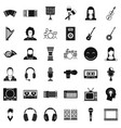 musician icons set simple style