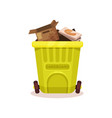 plastic container with cardboard waste flat vector image