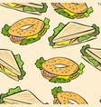 sandwich doodles cute seamless pattern vector image