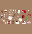 set coffee in flat style vector image