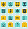 set of 16 travel icons includes escalator down vector image vector image