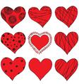 Set of hand drawing hearts vector image