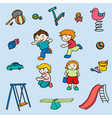 sketch colored children amusements collection vector image vector image