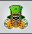 st patricks day mascot skull with beer glass party vector image