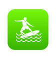 surfer icon digital green vector image