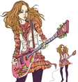 rock chick playing electric guitar vector image