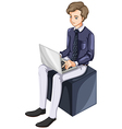 A businessman using a laptop vector image vector image