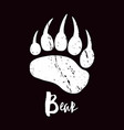 a trace a bear white silhouette paw vector image vector image