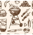 Bbq Grill Sketch seamless pattern Hand Drawn vector image vector image