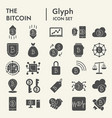 bitcoin glyph icon set crypto symbols collection vector image vector image