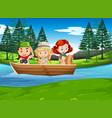 camping boy and girl exploring nature vector image