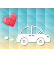 car with red heart balloons vector image