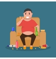 Cartoon fat man sitting on couch eat junk food vector image vector image