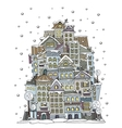 cartoon winter construction town vector image vector image