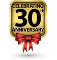 celebrating 30th years anniversary gold label vector image