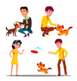 characters walking with domestic animal set vector image vector image