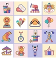 Circus icons set flat line vector image