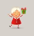 cute and happy mrs claus with gift vector image