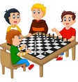 cute happy kids playing chess vector image