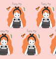 cute seamless pattern pretty girl and camera vector image