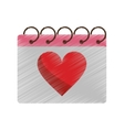 drawing valentine day calendar love heart date vector image