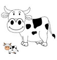educational game for kids and coloring book-cow vector image vector image