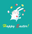 festive easter card with a cheerful rabbit and vector image