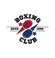 fighting boxing club logo flying blue and red vector image vector image