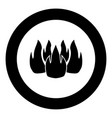 fire icon black color in circle vector image vector image