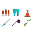 fishing tool icon set color outline style vector image
