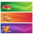 fried chickenfriessteaks and burger banners set vector image