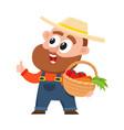 Funny farmer gardener character in overalls vector image