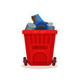 garbage bin for metal waste red plastic container vector image