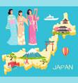 geisha and japan map with landmark nation vector image vector image