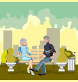 grandparents are sitting on a bench in the park vector image vector image