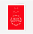 hanging dash line merry christmas ball with bow vector image