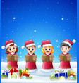 happy kid singing in the winter background with ba vector image vector image