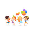 happy school children with the balloons and vector image vector image