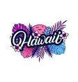hawaii hand written lettering with palm vector image