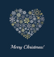 Heart made from snowflakes on dark blue background vector image vector image