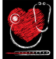 heart stethoscope and thermomete vector image