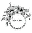 hibiscus flower frame hand drawing vintage clip vector image vector image
